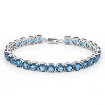 Sterling Silver 20.00 ctw Beautifully created Fine London Blue Topaz Bracelet