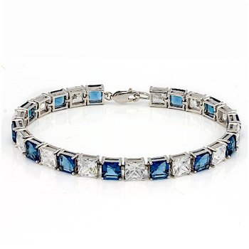 Sterling Silver 29.90CTW Sapphire and White Topaz Tennis Bracelet