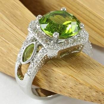 Sterling Silver, 5.50cttw Brilliant Cut Peridot Ring Size 7