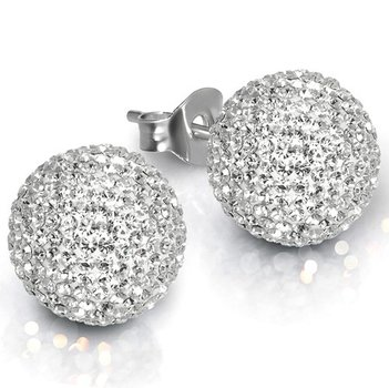 Sterling Silver 6mm. Pave Crystal Stud Earrings