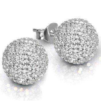 Sterling Silver 6mm. Pave Crystal Stud Earrings