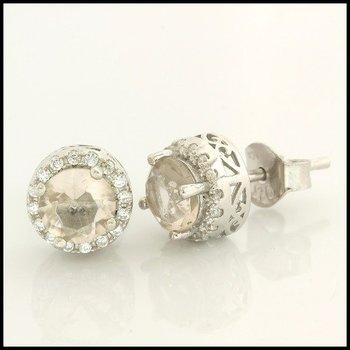 Sterling Silver & AAA Grade CZ Stud Earrings