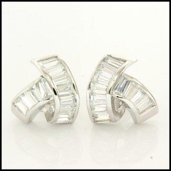 Sterling Silver Baguette Cut Topaz Earrings