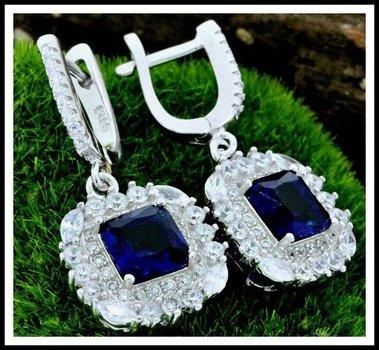 Sterling Silver Blue & White Sapphire Earrings