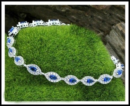 Sterling Silver Blue & White Sapphire Tennis Bracelet