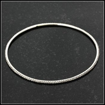 "Sterling Silver Classic Style Genuine White Topaz Bangle Bracelet 7.5"""