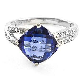 Sterling Silver Created Briolette Sapphire & Natural Round Single Cut Diamond Ring, Size 6.5