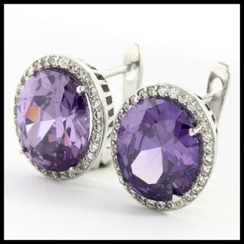 Sterling Silver Genuine Amethyst Earrings