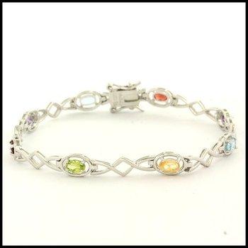 Sterling Silver Genuine Multicolor Stones Bracelet