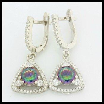Sterling Silver Genuine Mystic Topaz Earrings