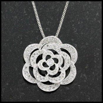 Sterling Silver Genuine Topaz Rose Necklace