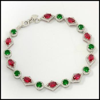 Sterling Silver Multicolor Gemstones Bracelet