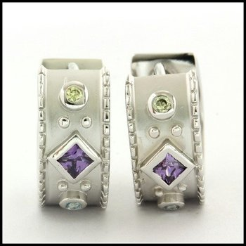 Sterling Silver Multicolor Stone Hoop Earrings