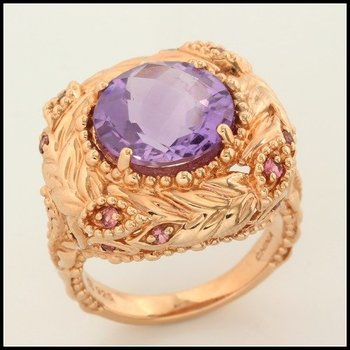 Sterling Silver & Rose Gold Overlay Genuine Amethyst Ring Size 8