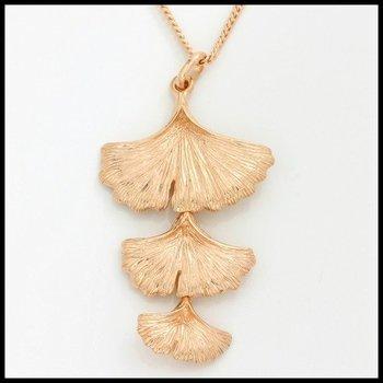 Sterling Silver & Rose Gold Overlay Triple Drop Ginkgo Leaf Pendant Necklace