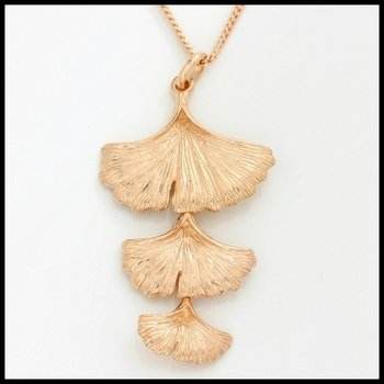 Sterling Silver & Rose Gold Overlay Triple Drop Ginkgo Leaf Pendant Necklace