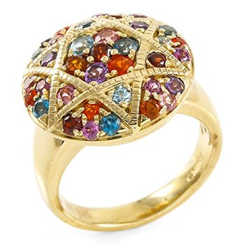 Sterling Silver Round Brilliant Cut Genuine Multi Color Gemstones and Fire Opal Women's Ring, Size 8