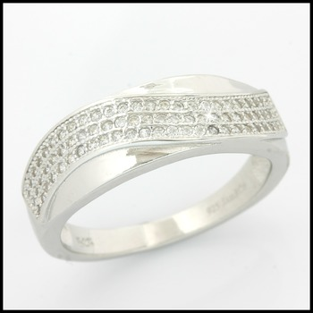 Sterling Silver w/18k White Gold 0.75ct AAA Grade Italian CZ's Band Ring Size 10