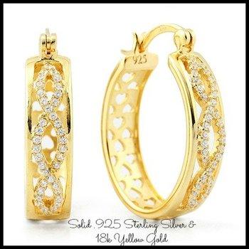 Sterling Silver w/18k Yellow Gold 0.75ct AAA Grade Italian CZ's Earrings