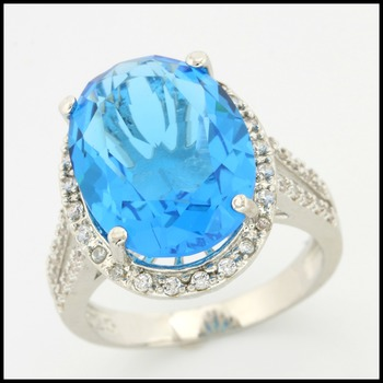 Sterling Silver with Blue Topaz Ring Size 7