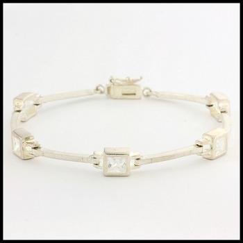 "Sterling Silver with White Topaz 7"" Bracelet"