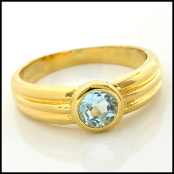 Sterling Silver with Yellow Gold Overlay Aquamarine Ring Size 5.5