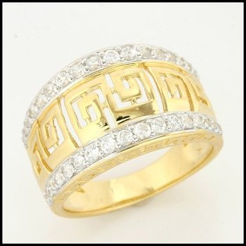 Sterling Silver & Yellow Gold Overlay with White Sapphire Ring Size 6.5
