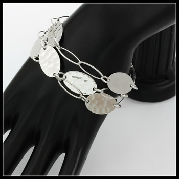 """Stippled Sterling Silver Oval Links Lobster Claw Clasp Bracelet 6"""""""