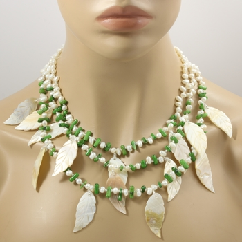 Three Strand Genuine Morher of Pearl, Pearl & Green Agate Necklace Featering 925 Sterling Silver Filigree Box Clasp
