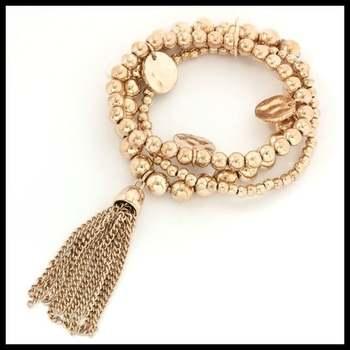 Three-Strand Stretch Hammered Charm Tassel Bracelet