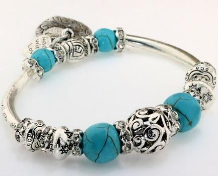 Turquoise Beads & White Cubic Zirconia Stretch Bracelet