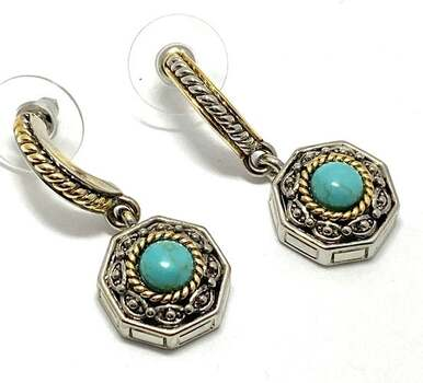 Turquoise Drop Earrings Two-Tone 14k Gold Over