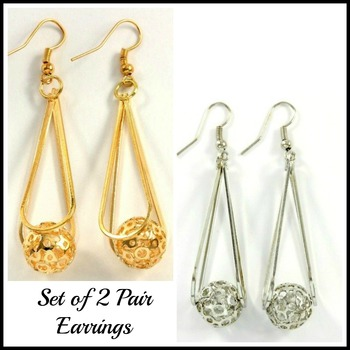 Two Pair of Fine Jewelry Brass with 3x Yellow & White Gold Overlay Earrings