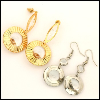 Two Pair of Fine Jewelry Brass with 3x Yellow & White Gold Overlay Swarovsky Crystal Earrings