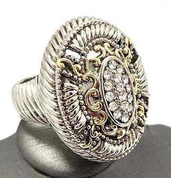 Two Tone, 0.75ctw White Sapphire Ring