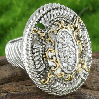 Two Tone, 0.75ctw  White Sapphire Ring Size 8