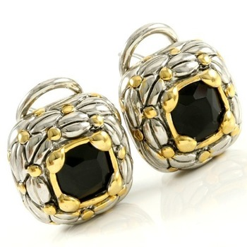 Two Tone 14k Gold Over High End Jewelry Alloy with Beautifully Created Black Onyx Earrings