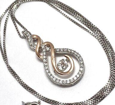 """Two Tone .925 Sterling Silver 1.00ctw White Diamonique """"Dancing Diamond"""" Design Necklace"""