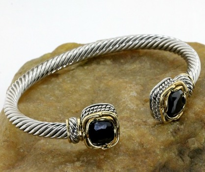 Two Tone, Black Spinel Bangle Cable Bracelet