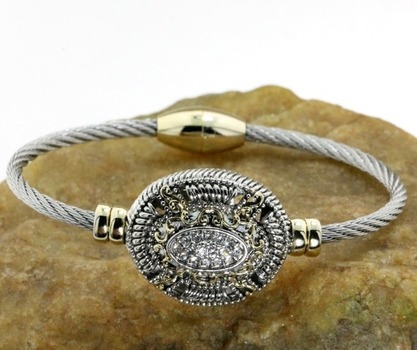 Two Tone, Cubic Zirconia Magnetic Cable Bracelet