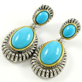 Two Tone Gold Over High End Jewelry Alloy with Beautifully Created Turquoise Earrings