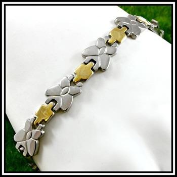 "Two Tone Modern Bracelet 8.5"" Long"
