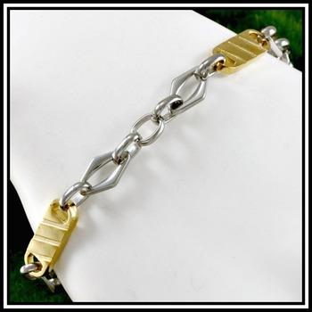 "Two Tone Modern Men's Bracelet 8"" Long"