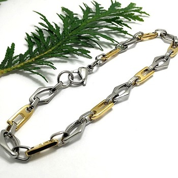 "Two Tone Modern Men's Bracelet 9"" Long"