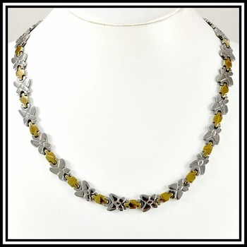 "Two Tone Modern Necklace 20"" Long"
