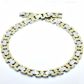 """Two Tone Stainless Steel Stunning Necklace 20"""" Long"""