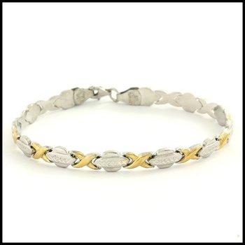 Two Tone Sterling Silver Tennis Bracelet