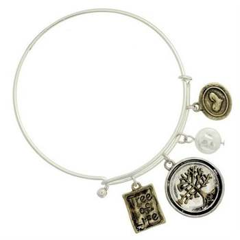 Two Tone Tree of Life Charm Bangle Bracelet