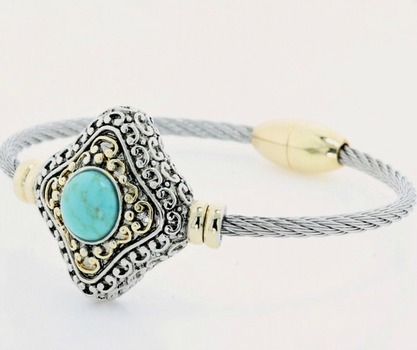 Two Tone, Turquoise Magnetic Clasp Cable Bracelet