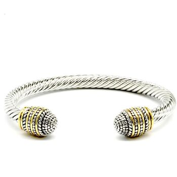 Two Tone Twisted Cable Bangle Cuff Bracelet